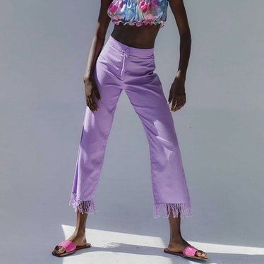 Nicanor linen pants in Lilac from Tach Clothing.