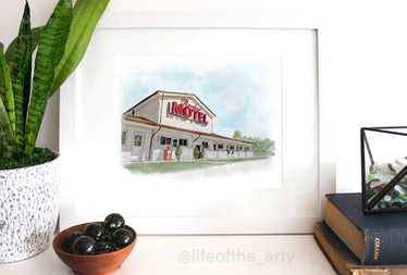 You can get this Rosebud Motel watercolor print for your 'Schitt's Creek' Halloween boo basket.