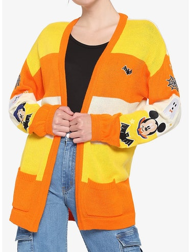 Hot Topic and Disney's Mickey Mouse Halloween Candy Corn Stripe Girls Open Cardigan.
