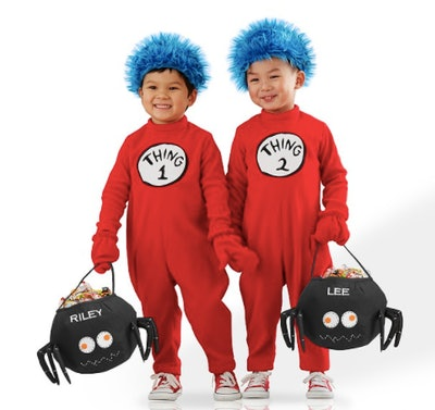 Two boys dressed as Thing One and Two
