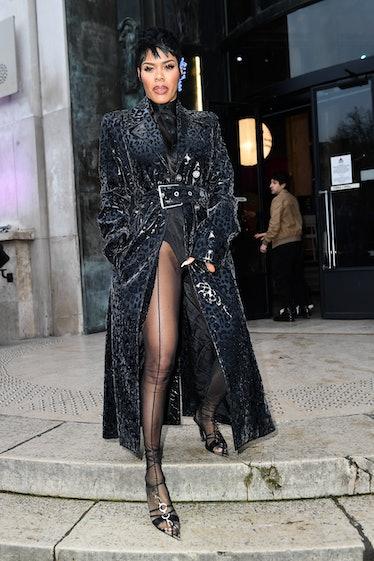 Teyana Taylor attends the Mugler show as part of the Paris Fashion Week Womenswear Fall/Winter 2020/...