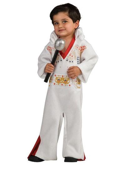 Toddler boy dressed as Elvis