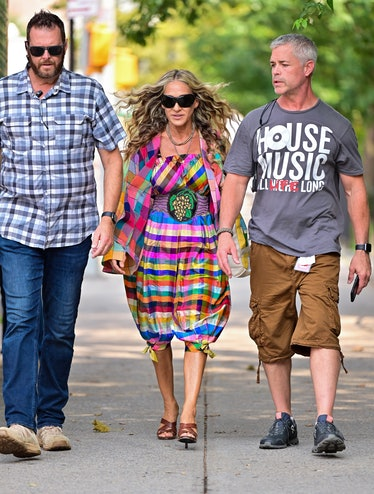 Carrie Bradshaw in bright plaid.