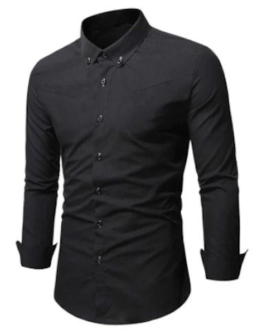 men's black solid button-up shirt