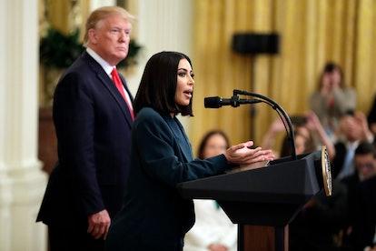 Kim Kardashian speaking about criminal justice reform.
