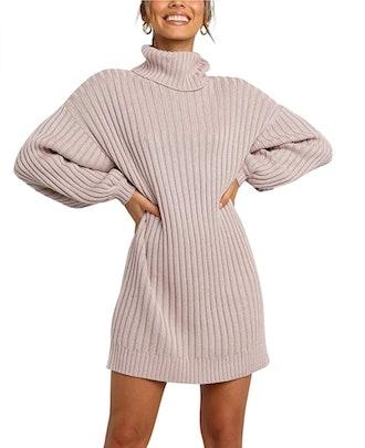 ANRABESS Turtleneck Sweater Dress