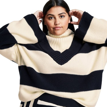 Striped Turtleneck Pullover Sweater