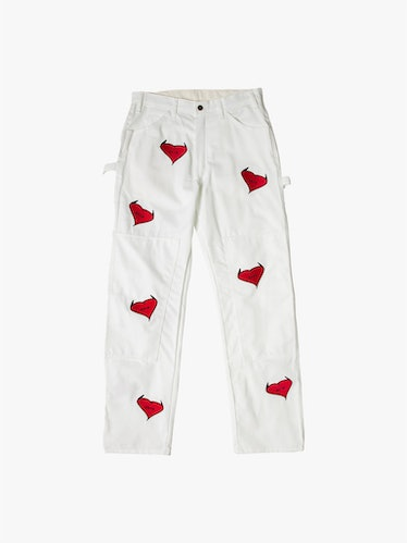 White Embroidered Icon work pant from Heart With Horns.
