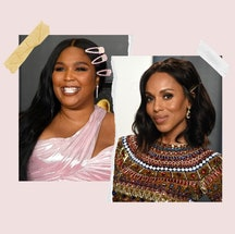 Lizzo (at 2021 Grammy Awards) get support from Kerry Washington (at the 2020 Vanity Fair Oscar Party...