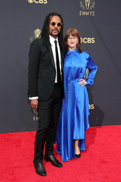 Colson Whitehead and Julie Barer at the 2021 Emmys.
