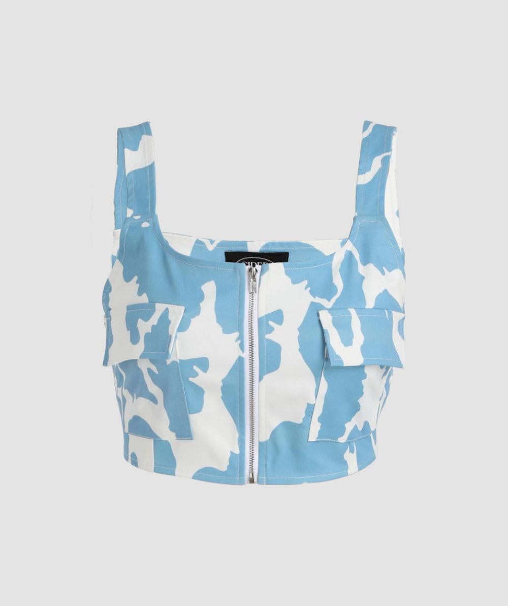 Cow Print Zipped Tank Top