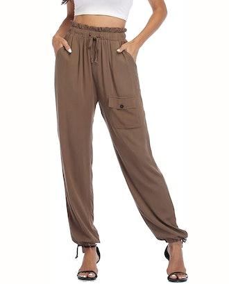 andy & natalie Elastic Waist Cargo Pants