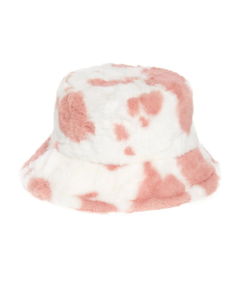 Cow Print Fleece Bucket Hat