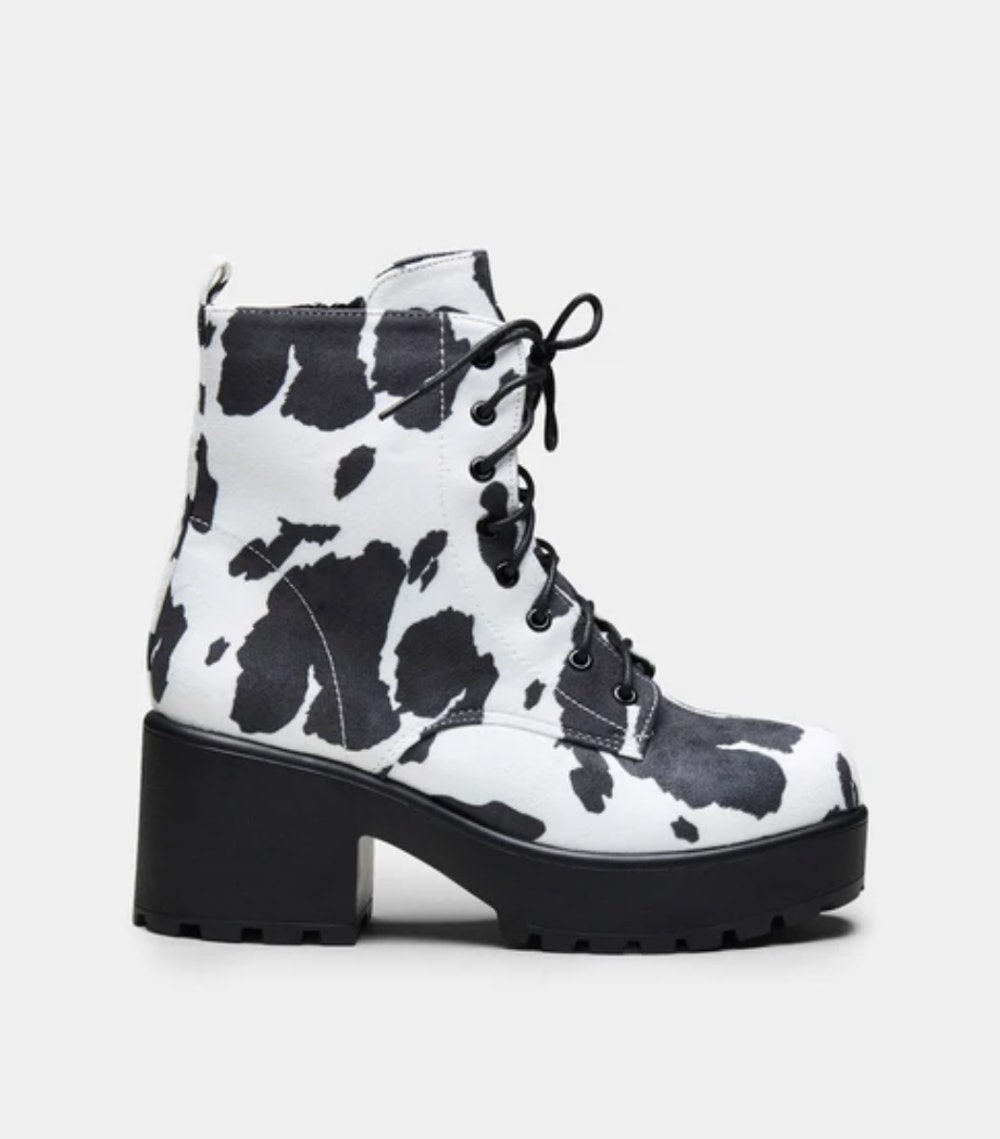 Daisy Platform Cow Print Military Boots