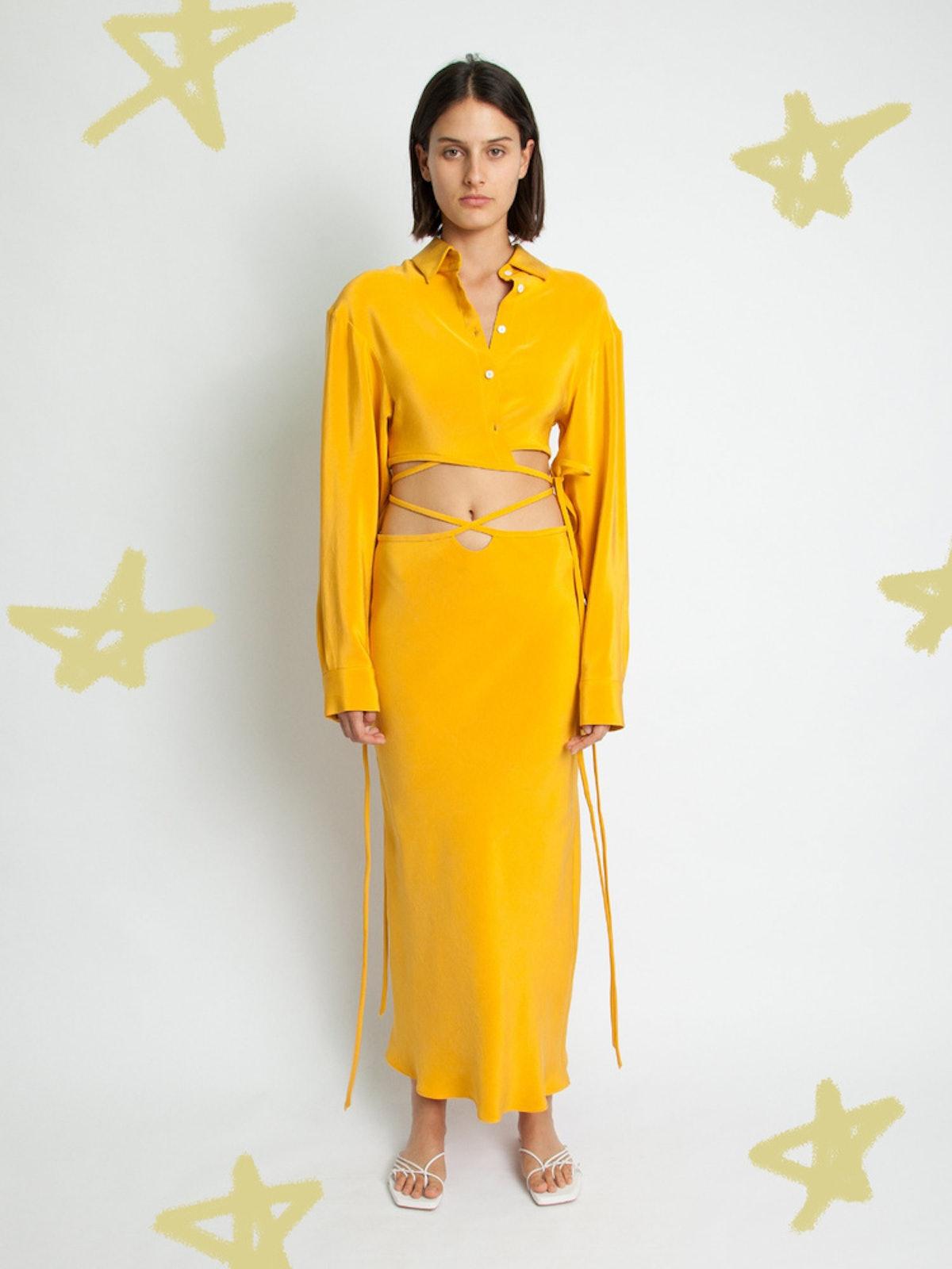 Mango Loophole Bias Tie Skirt