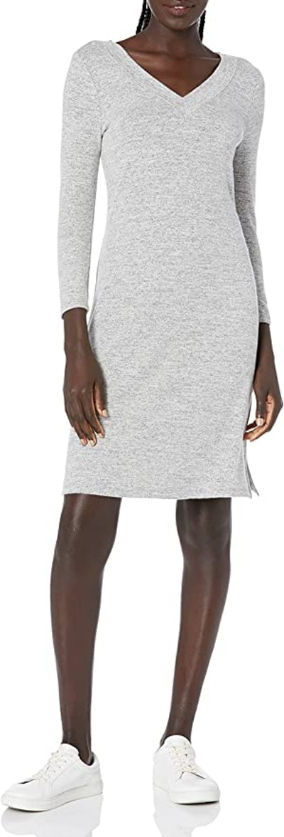 Daily Ritual Cozy Knit 3/4-Sleeve V-Neck Dress