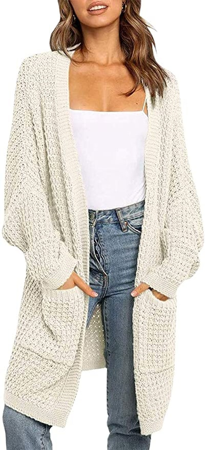 ZESICA Batwing Sleeve Chunky Knit Cardigan
