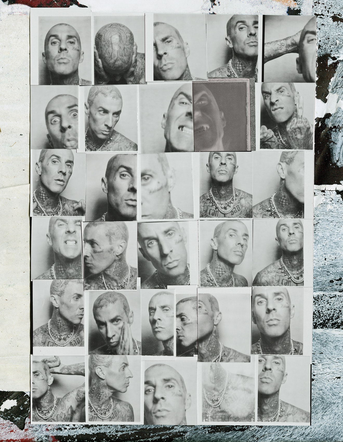 A collage of black and white Polaroid-style photos of NYLON cover star Travis Barker.