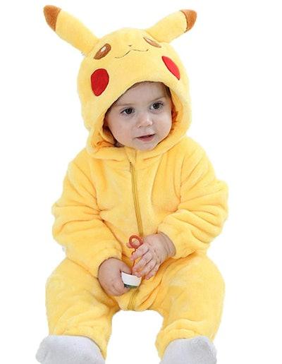 Baby wearing Pikachu hooded onesie