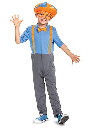Toddler dressed up as Blippi