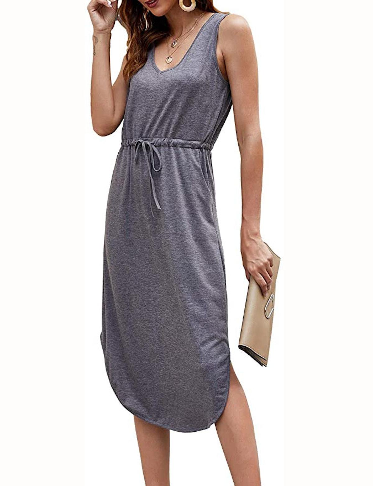 Hount Sleeveless Casual Midi Dress with Pockets