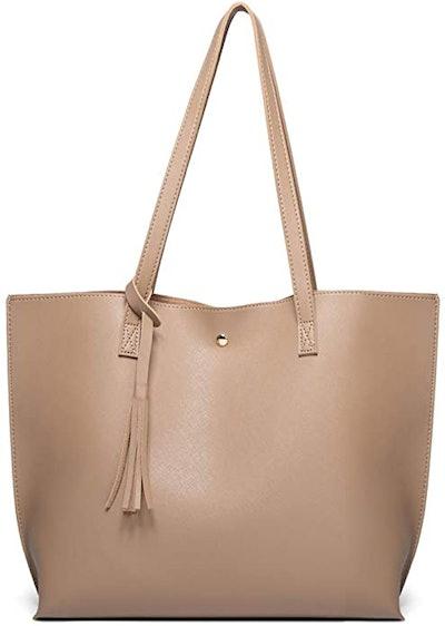 Dreubea Soft Faux Leather Tote Shoulder Bag