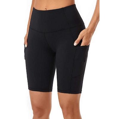 Oalka Side Pocket High Waist Workout Shorts