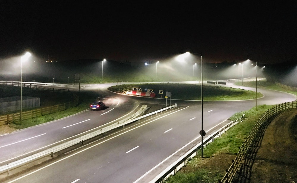 LED streetlights at a rural junction. Location: Curbridge, Oxfordshire.