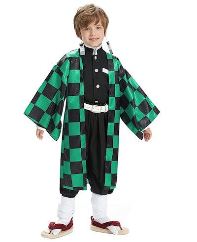 Child posing in a Kamado Tanjiro Cosplay costume