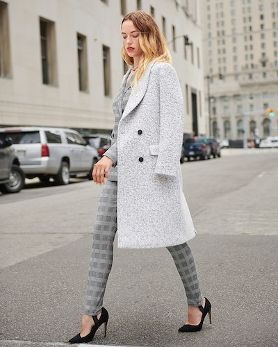 Wool-Blend Boucle Double Breasted Coat