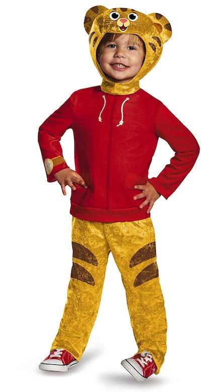 Toddler dressed up in Daniel Tiger costume