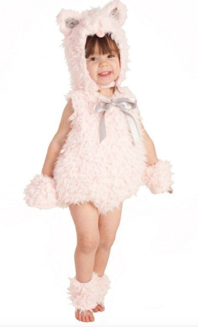 Child wearing a fluffy pink cat costume