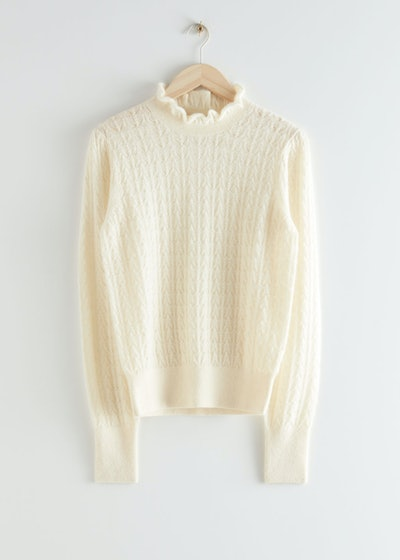 Cable Knit Ruffle Collar Sweater