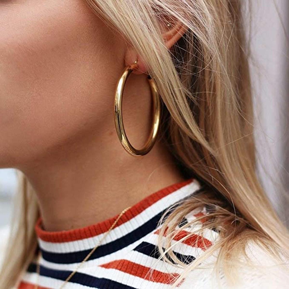 Doubnine Gold Hoop Earrings