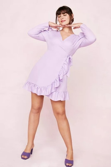 Plus Size Ruffle Wrap Mini Dress
