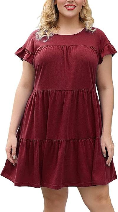 Nemidor Cap Sleeve Plus Size Ruffle Loose Swing Tiered Babydoll Dress