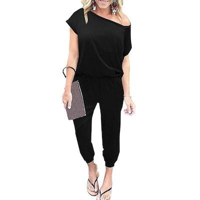 KAY SINN Off Shoulder Elastic Waist Jumpsuit with Pockets