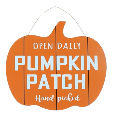 This hanging wooden sign that says 'pumpkin patch' is available this Halloween at Five Below.