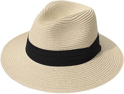 Lanzom Wide Brim Straw Sun Hat