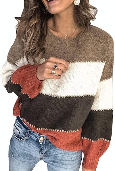 Aleumdr Long Sleeve Color Block Sweater