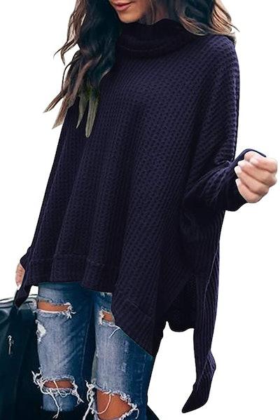 ANRABESS Turtleneck Batwing Oversized Sweater