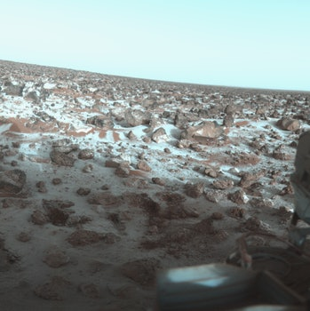 This false-color photo of the surface of Mars was taken by Viking Lander 2 at its Utopia Planitia la...