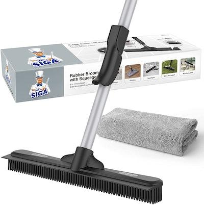 MR.SIGA Pet Hair Removal Rubber Broom
