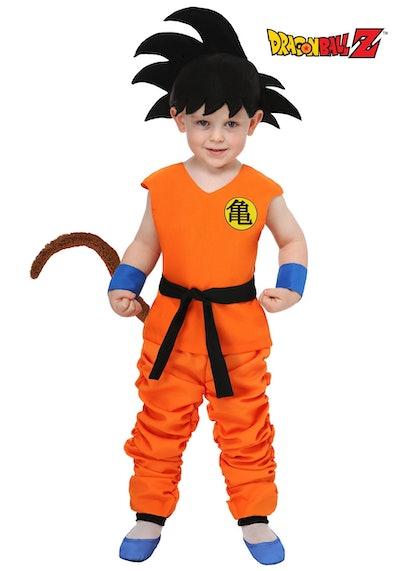 Toddler wearing Goku costume