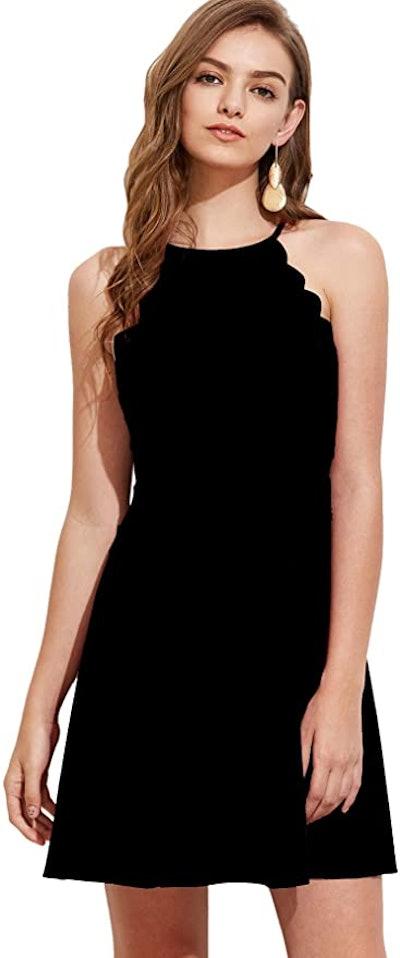 Romwe Sweet Scallop Sleeveless Skater Dress