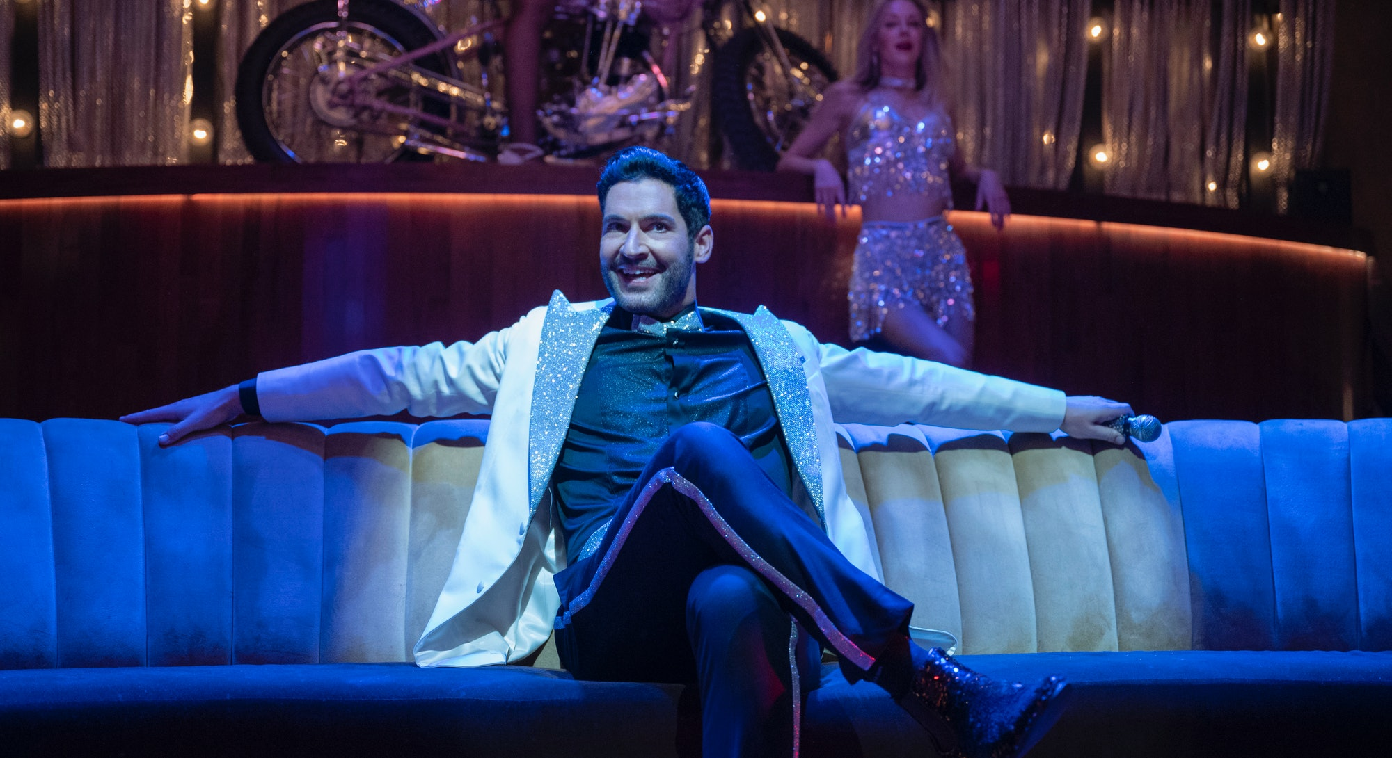 A still from the final season of 'Lucifer,' with Tom Ellis starring in the title role, seen here sin...