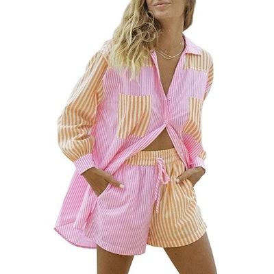 SAFRISIOR 2 Piece Long Sleeve Shirt And Shorts Set