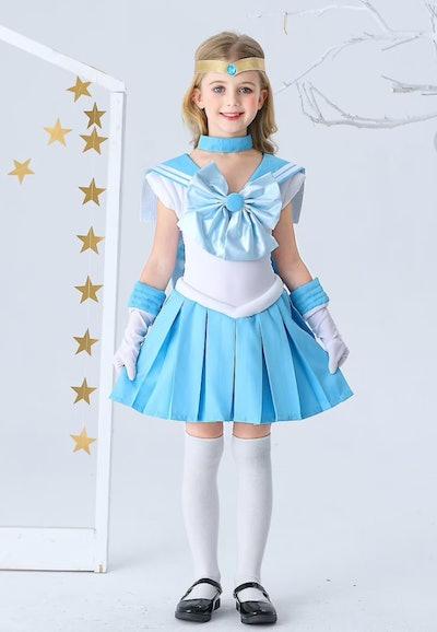 Little girl posing in Sailor Mercury costume
