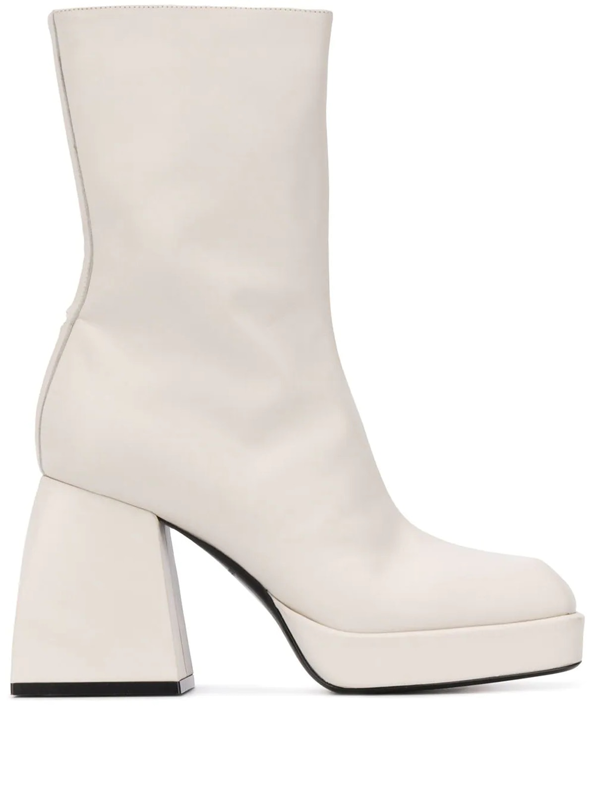 White square-toe heeled boots from Nodaleto, available to shop on Farfetch.