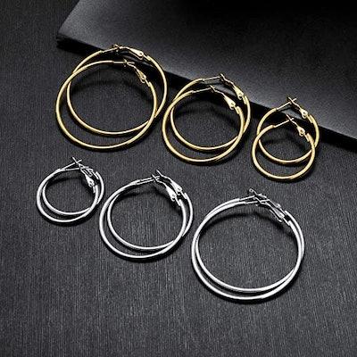 Cuicanstar Hoop Earrings (6 Pairs)
